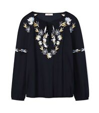 $250 TORY BURCH Cotton Split Neck Embroidered Peasant Top Blouse - Sz 2 (XS/S)