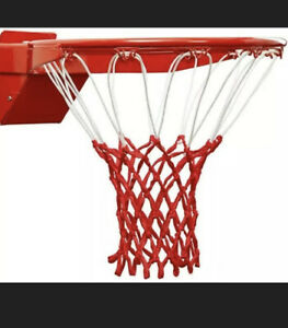 Ultra Heavy Duty Basketball Net - Fits Indoor or Outdoor Rims - Red & White