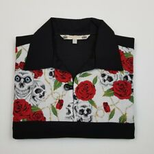 MENS EXTRA LARGE SKULL AND ROSES Bowling Shirt Rockabilly Retro rock n roll