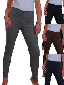 Ladies Skinny Trousers Stretchy Pocket-less Office School Day NEW Size 4-16