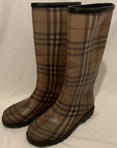 Burberry Nova Check Tall Rain Boots Women Size 38/ 7.5 US/ 5 UK