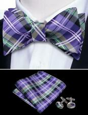 Mens Bow tie Self Purple checks plaid Hanky Cufflink Set Silk Wedding Formal USA
