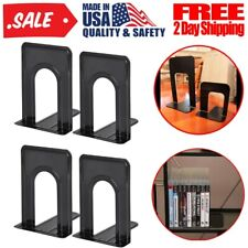2 Pairs /4 Pc Metal Bookends Sturdy & Nonskid Heavy Duty Book Ends Supports