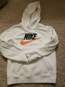 Nike Pullover Hoodie White Youth Boys Large Sweatshirt