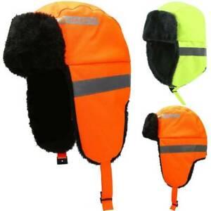 UK Hi Viz High Vis Safety Work Hat Visibility Winter Warm Earflag Cap Reflective