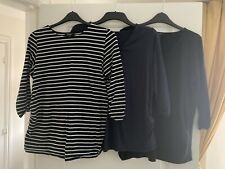Maternity Bundle Size 16 Long Sleeved Tops Black, Blue, And Black Stripy