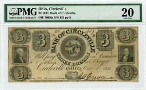 1854 $3 The Bank of Circleville, OHIO Note - PMG Very Fine 20