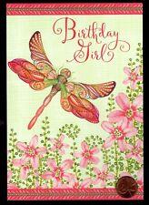 tarjeta de saludo Amistad Brillante Deluxe Tarjeta Gato Con Flores Nuevo Laurel Burch