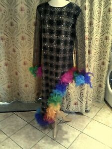 Drag Queen Black/glitter1 sided dress, matching turban rainbow feathers 18/20