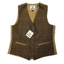 Country Tweed Dress Waistcoat Vest Herringbone Light Brown Beige w. Orange Check