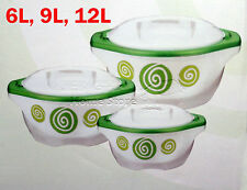 Large 3Pc Hot Cold Round Insulated Casserole Hot Pot Set Food Warmer Green PRO