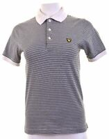 LYLE & SCOTT Womens Polo Shirt Size 10 Small Navy Blue Striped Cotton  EE27