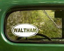 2 WALTHAM MASACHUSSETTS STICKERs Oval Decal Travel Mug Car Truck Bumper Window