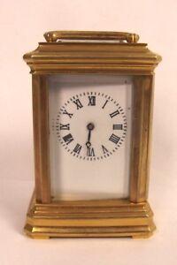 20th Century Miniature Brass Carriage Cased Clock