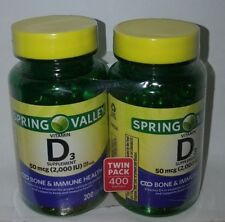 VITAMIN D3 SPRING VALLEY 2000 IU 200 SOFTGELS TWIN PACK