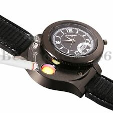 Mens Military Watch with USB Rechargeable Electric Windproof Cigarette Lighter