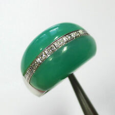 1024 - Attraktiver Ring aus 585 Weißgold - Chrysopras Diamanten - 2031/61-