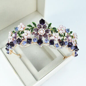 4.5cm High Purple Green Flower Crystal Wedding Party Pageant Prom Tiara Crown