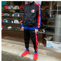 Champion Life Men's 2 Piece Tracksuit Track Jacket Pants Black S M L XL XXL