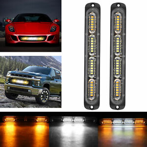 2x White/Amber 24 LED Car Truck Emergency Warning Hazard Flash Strobe Light Bar