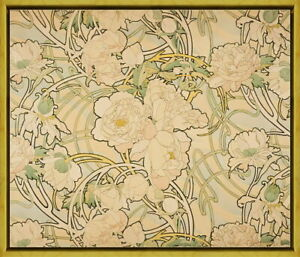 Framed Alphonse Mucha Peonies Giclee Canvas Print Paintings Poster Reproduction