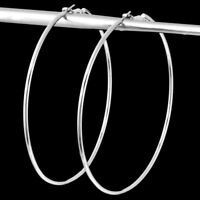 "Huge Unique Elegant Pure 925 Sterling Silver Big Round Hoop 4"" Fashion Earrings"