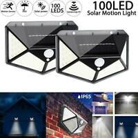 2/4/8 Solar Powered PIR Motion Sensor Light Garden Security Wall Light 100 LED