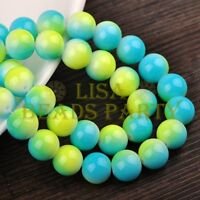 New! 30pcs 10mm Round Glass Loose Spacer Beads Findings Yellow&Lake Blue