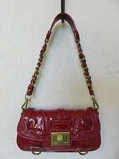 Lockheart Shoulder Bag Clutch Purse Crinkle Patent Red Leather Small Handbag