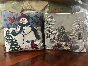 LOT SET 2 VINTAGE CHRISTMAS TREE SNOWMAN HOLIDAY TAPESTRY ACCENT THROW PILLOWS