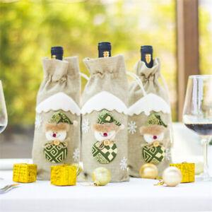Wine Bottle Cover Bags Snowman Santa Claus Christmas Decor Xmas Happy New Year