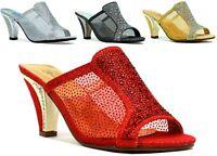 Ladies Women Open Toe  Fashion diamante wedding party Sandals UK 3-8