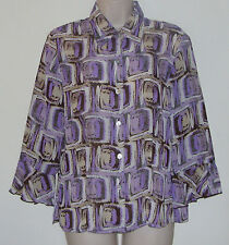 """SereNade Multi Color 3/4 Sleeve Button Down Blouse M Bust 38"""" Length 23"""""""