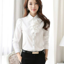 Women Chiffon Shirt Ruffle Collar OL Button Plain Slim Vintage Top Blouse Casual