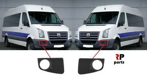FOR VW CRAFTER 2006-2017 NEW FRONT BUMPER FOGLIGHT GRILLE BLACK PAIR SET