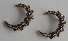 Vintage C1950 Pair of Matching Gold Plated Red Beaded Berry Brooches Dress Pins
