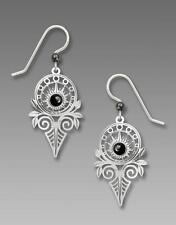 Adajio Earrings Antique Style Shiny Silver Deco Sunburst with Hematite Cabochon