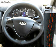 FOR HYUNDAI i30 TOP QUALITY LEATHER STEERING WHEEL COVER ORANGE STITCH 2007-2011