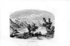 Stampa antica montagna COLLE FORCLAZ Vallese Valais Svizzera 1885 Old print
