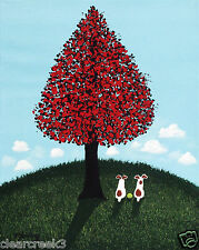 Jack Russell Terrier Dog Outsider Folk Art Print Todd Young Red Maple Tree