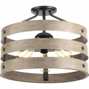 Progress Lighting Gulliver 17 in. 3-Light Graphite Farmhouse Semi-Flush Light