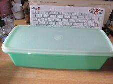 Vintage Jadeite Green Tupperware Salad Crisper Storage Container Keeper + Rack