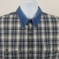 VTG Roper Blue Gray Check Plaid Cotton Men's L/S Casual Work Button Shirt Sz XL