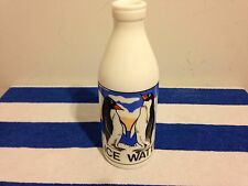 Vintage White Milk Glass Ice Water Bottle by Egizia / Penguins