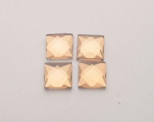 144PCS Coffee Glass Rhinestone Square Flatback 10x10mm