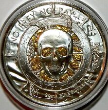 """PRIVATEER """"The Captain"""" 2 oz Silver Round+ Gold Nuggets From Porcupine Alaska"""