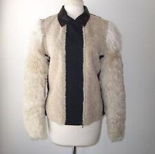 LANVIN Tan Black Lamb Fur Jacket Coat 38 6