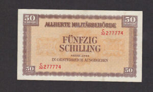 50 SCHILLING VF BANKNOTE FROM ALLIED MILITARY OCCUPATION AUSTRIA 1944  PICK-109