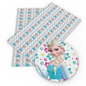 1 X 20CM X 34CM ELSA FROZEN PRINTED SYNTHETIC LEATHER SHEET PERFECT 4 HAIR BOWS