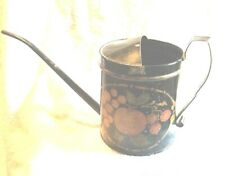 Vintage Toleware Galvanized Metal Watering Cans Folk Art Primitives Fruit Design